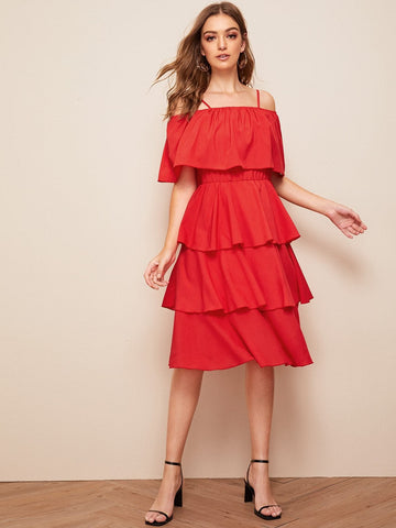 Red Spaghetti Strap half Sleeve Layered Ruffle Hem Cold Shoulder Solid Midi Dress