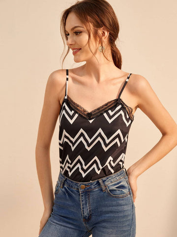 Black Spaghetti Strap Chevron Print Lace Panel Cami Top