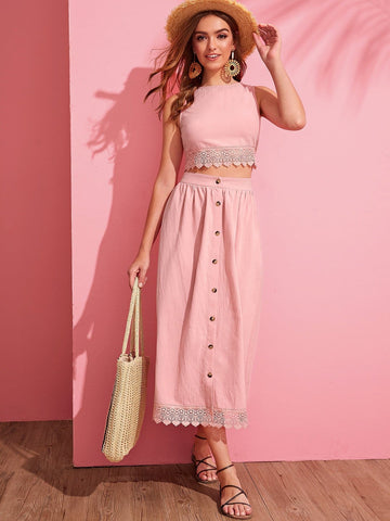 Pink Boat Neck Sleeveless Guipure Lace Detail Hem Crop Top & Button Front Skirt Set