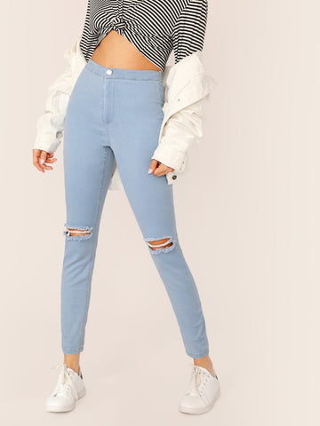 Blue Light Wash Ripped Skinny Crop Jeans