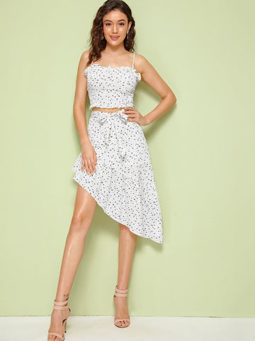 f89a1e2722 White Sleeveless Frill Trim Ditsy Floral Cami Top & Belted Asymmetrical  Skirt Set