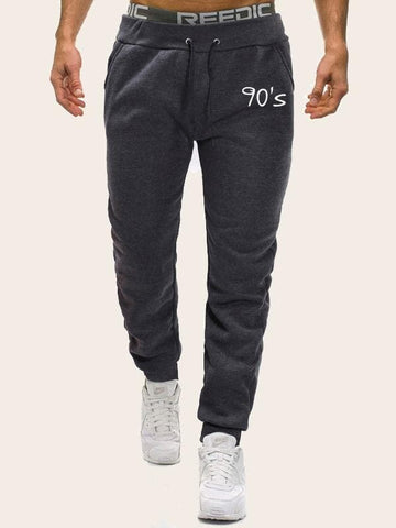 Grey  Letter Print Drawstring Waist Sweatpants