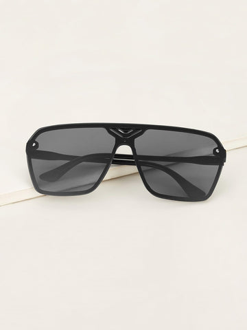 Grey Solid Frame Flat Lens Sunglasses