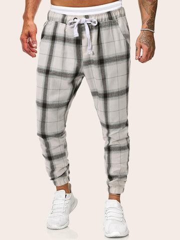 White Tartan Print Drawstring Sweatpants