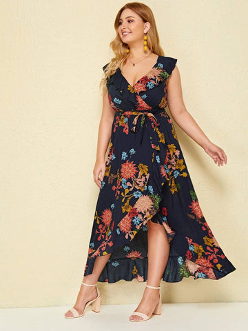 Navy Blue Plus Size Sleeveless Floral Print Ruffle Hem Wrap Belted Dress