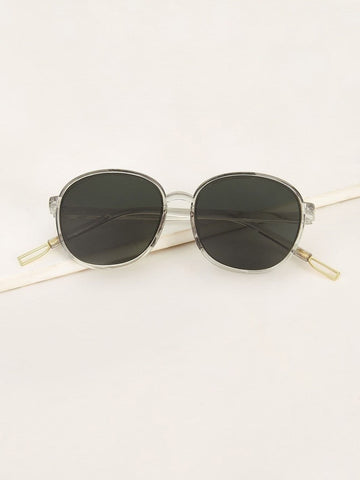 Grey Transparent Frame Flat Lens Sunglasses