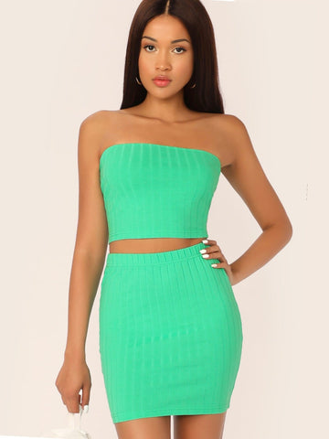 Bright Neon Green Sleeveless Strapless Rib-knit Bandeau Top Fitted Skirt Set