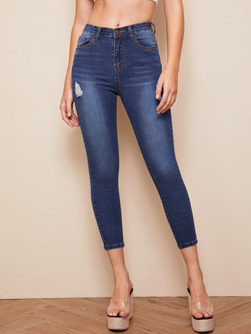 Navy Blue Straight Leg Dark Wash Ripped Skinny Jeans