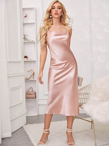 Pink Spaghetti Strap Sleeveless Satin Split Back Cami Dress