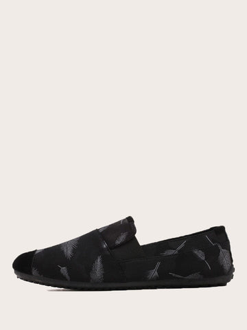 Black Feather Print Slip On Loafers