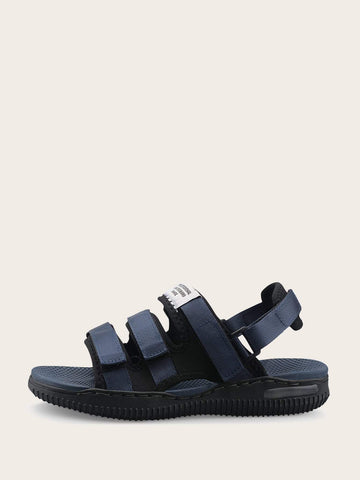 Navy Blue Hook-and-loop Straps Design Sandals