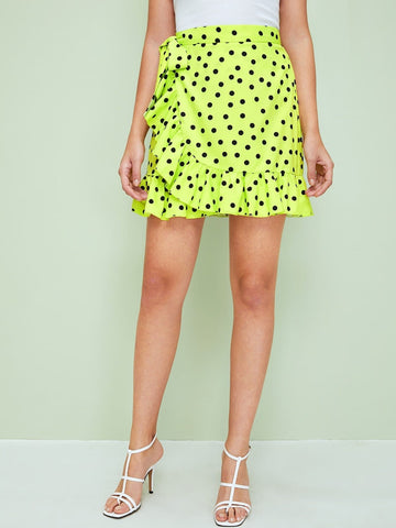 Neon Lime Green High Waist Tie Side Ruffle Wrap Polka Dot Skirt