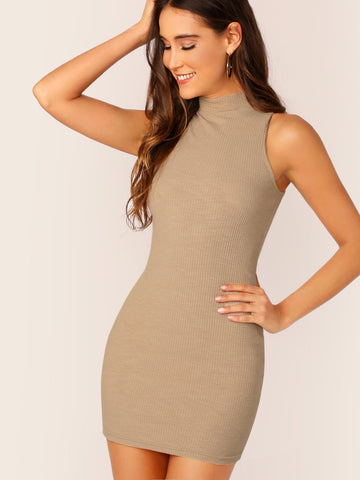 Black Sleeveless Stand Collar Mock-Neck Rib-knit Bodycon Dress