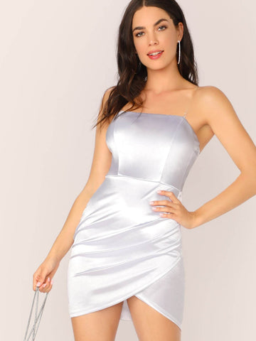 White Asymmetrical Wrap Hem Satin Short Tube Dress With Transparent Shoulder Strap