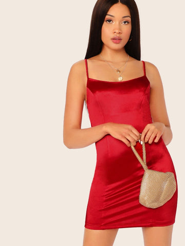 Bright Red Sleeveless Spaghetti Strap Solid Satin Mini Dress