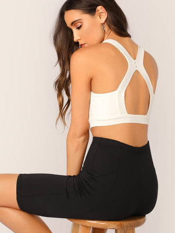 White Scoop Neck Cutout Back Solid Crop Top