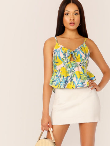 Spaghetti Strap Botanical Print Knot Front Peekaboo Cami Crop Top