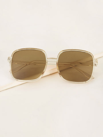 Brown Boho Transparent Frame Flat Lens Sunglasses