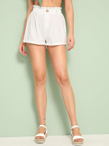 White Wide Leg Solid Paperbag Waist Button Front Shorts