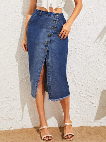 Blue High Waist Frayed Edge Asymmetrical Button Up Denim Skirt