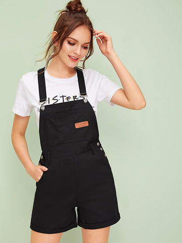 Sleeveless Patched Rolled Hem Denim Overall Jumpsuit