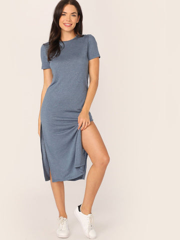 Round Neck Short Sleeve Solid M-slit Hem T-shirt Dress