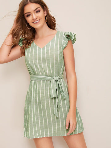 Green V-Neck Butterfly Sleeve Layered Ruffle Armhole Self Belted Striped Dress