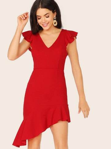 Red Butterfly Sleeve V-neck Ruffle Armhole Asymmetrical Short Hem Dress