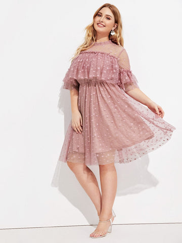 Plus Size Pink Stand Collar Mock Neck Ruffle Trim Star Mesh Overlay Dress