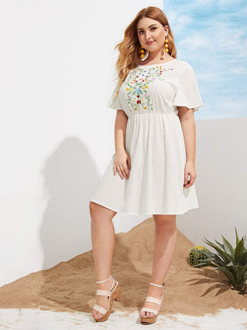 Plus Size White Round Neck Flutter Sleeve Embroidered Botanical Dress