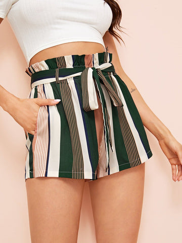 Wide Leg Paperbag Waist Self Belted Striped Shorts