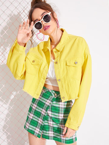 Yellow Single Breasted Raw Hem Dual Pocket Crop Denim Jacket