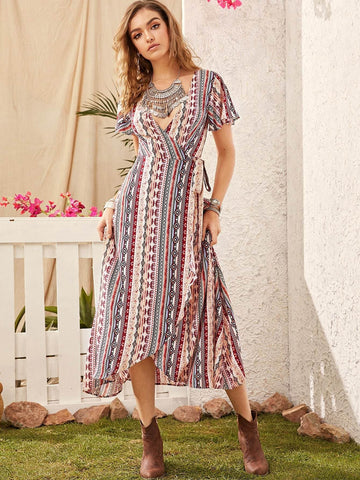 V-Neck Geometric Tribal Print Flutter Sleeve Wrap Knotted Dress