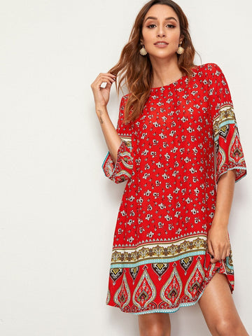 Red Round Neck Three Quarter Sleeve Floral & Paisley Print Tunic Dress