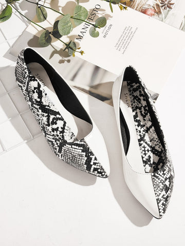Black and White Two Tone Snakeskin Panel Flats Shoes