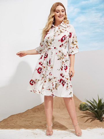 Plus Size Half Sleeve Button Front Floral Print Ruffle Hem Dress