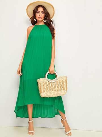 Green Sleeveless Pleated High Low Halter Dress
