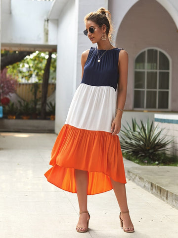 Round Neck Sleeveless Colorblock Asymmetrical Hem Dress