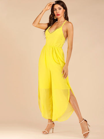Yellow Backless Spaghetti Strap Sleeveless Tulip Hem Criss-cross Knot Back Cami Jumpsuit