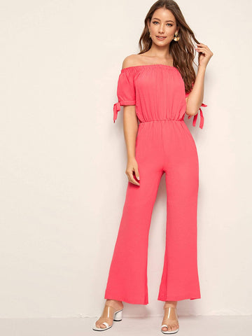 Pink Off Shoulder Short Sleeve Knot Cuff Flare Leg Bardot Jumpsuit