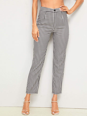 Black and White Button Fly Gingham Print Straight Leg Pants