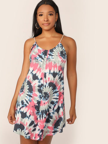 Spaghetti Strap Sleeveless Tie Back Tie Dye Halter Dress