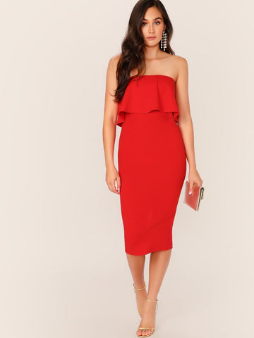 Sleeveless Strapless Foldover Split Hem Tube Dress
