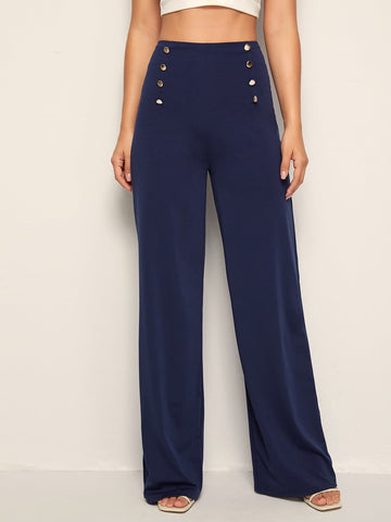 Navy Blue Button Front High Waist Wide Leg Pants