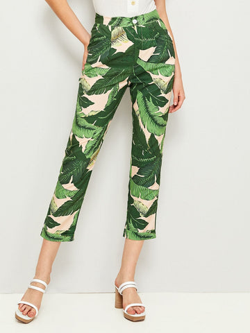 Button Fly Tropical Print Crop Cigarette Pants