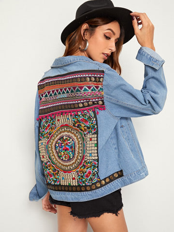 Single Breasted Long Sleeve Ripped Embroidered Back Denim Jacket