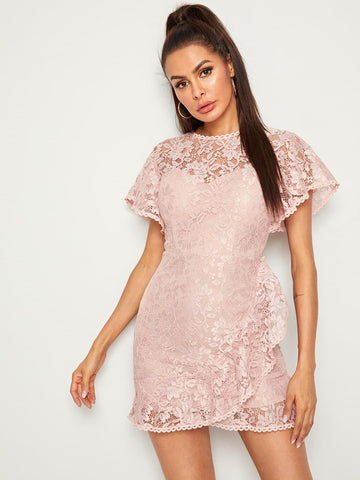 Pink Round Neck Ruffle Trim Zip Back Guipure Lace Dress