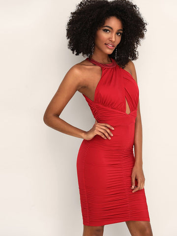 Red Sleeveless Ruched Peekaboo Backless Halter Dress