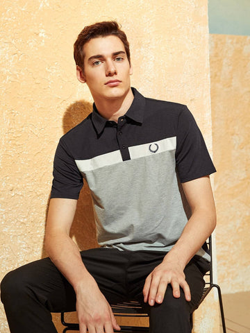 Short Sleeve Embroidery Detail Colorblock Polo T-Shirt