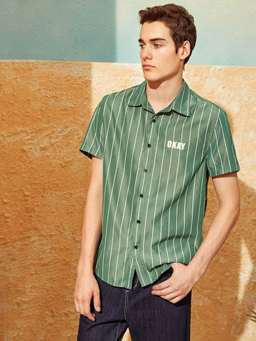 Regular Fit Short Sleeve Vertical Striped & Letter Print Shirt